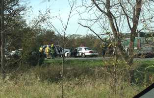 A vehicle crashed while a State Police cruiser was pursing it late Monday morning in Straban Township, Adams County.