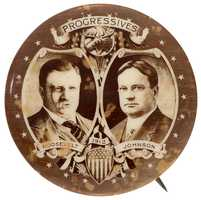1912 Theodore Roosevelt & Hiram Johnson real-photo jugate button, sepia, 1.25 inches dia., ex Don and Mildred Wright collection, est. $2,000-$5,000.
