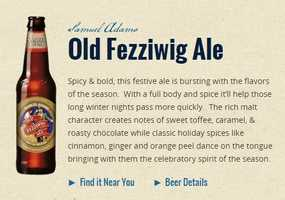 Old Fezziwig Ale from Samuel Adams Brewing Company in Boston, Massachusetts.