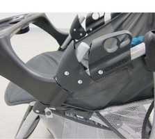 Stroller foldback lock, side-view.