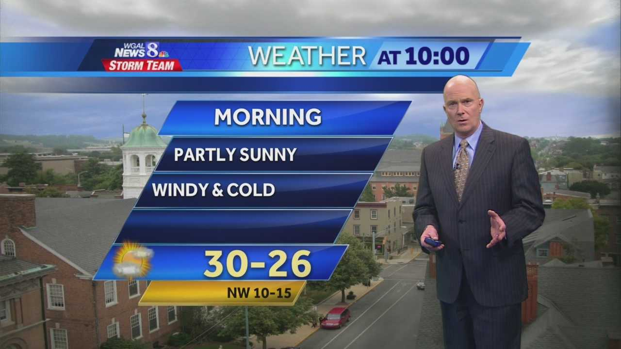 Tonight: Temperatures hold steady near 30 degrees