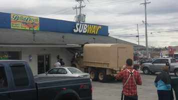 A military vehicle crashed into a Subway restaurant in York County Tuesday afternoon.