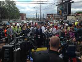 """Philadelphia Mayor Michael Nutter delivered an update to a crowd of reporters on Wednesday morning and said """"this is a horrific scene."""" The mayor says all seven train cars were in """"various stages of disarray."""""""