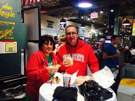 """Pilgrims Chuck and Venetia Bramlage, who used to live in Philly but now live in Ohio, say they love cheesesteaks. """"There's no better place than Philly to get a cheesesteak,"""" said Venetia."""