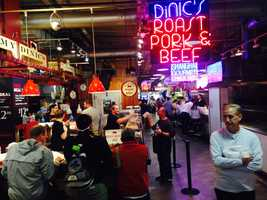 A view of the bustling Reading Terminal Market during pope weekend in Philadelphia.