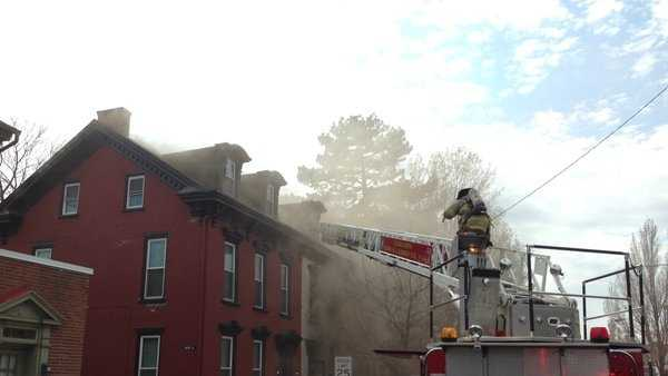 Crews fight 3-alarm fire in Lebanon