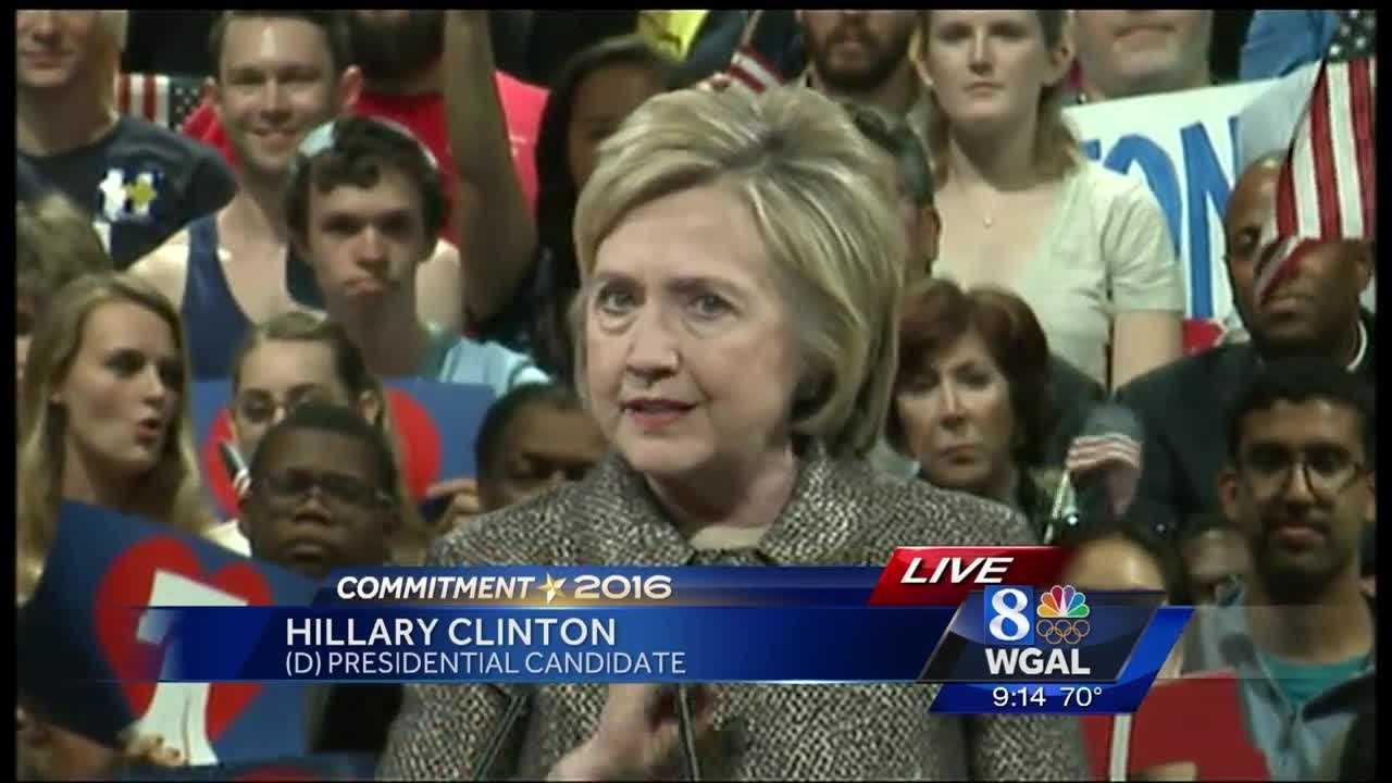 Hillary Clinton speaks to supporters in Philadelphia