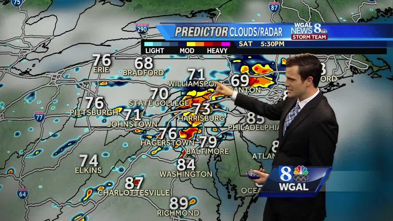 Scattered storms with downpours possible this afternoon