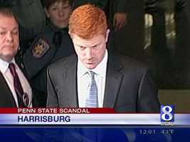 McQueary leaves court after testifying at the preliminary hearing.
