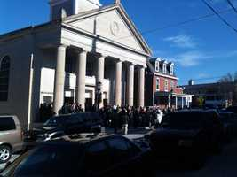 Mourners gather for funerals for two of the victims.