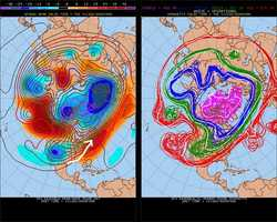 MONDAY: With a southwest flow again, the week should start out mild. Watch the dip in the jet stream over the Southwest.