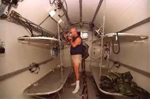 Divers lived in this chamber for two weeks at a time saturated with a gas mixture of 85 percent helium and 15 percent oxygen. This allowed the divers to work in eight-hour shifts.