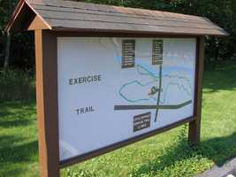 The Exercise Trail is a 1.2 mile loop, which has 18 permanent stations where hikers can do many different exercises.