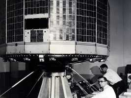 On April 1, 1960, a satellite designed by the RCA launched to become the nation's first weather satellite. That satellite, the Television InfraRed Observational Satellite, or TIROS 1, operated for only 78 days but demonstrated the feasibility of monitoring Earth's cloud cover and weather patterns from space. This NASA program provided the first accurate weather forecasts based on data gathered from space. In this image, TIROS undergoes vibration testing at the Astro-Electronic Products Division of RCA in Princeton, New Jersey.