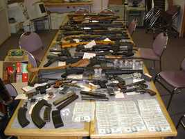 These weapons were found by authorities at an active meth lab in Alaska.
