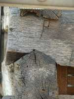This photo shows some of the original notched-wood construction that was in use in the 1800s.