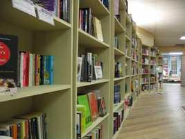 Bookshelves line the walls of Aaron's Books in downtown Lititz.
