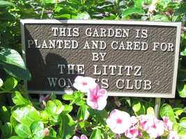 Flowers bloom at the Lititz town square.