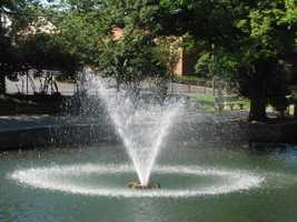 A fountain spews water at Lititz Springs Park.