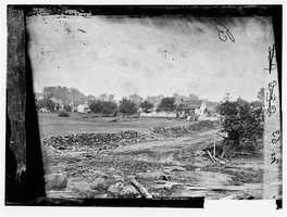 Here's a wider shot of the home, in the days after the 1863 battle. The home is located on Taneytown Road behind Cemetery Ridge.