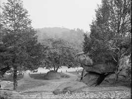 This image was taken from Devil's Den, looking up at Little Round Top. It was taken on the 50th anniversary of the battle in 1903.