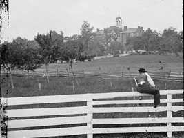 … here at the Lutheran Theological Seminary. In this photo, taken in 1863, you can see a cupola at the top of the seminary. That is where Buford kept watch until he had to fall back.