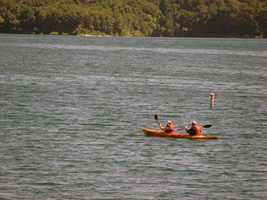 The lake is popular with boaters.