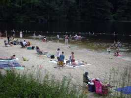 Laurel Lake, the larger of the park's two lakes at 25 acres, is not staffed with lifeguards.