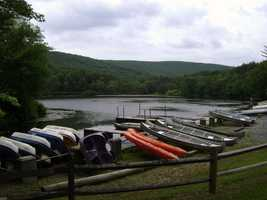 Canoes, rowboats and other crafts are available for rent at Laurel Lake.