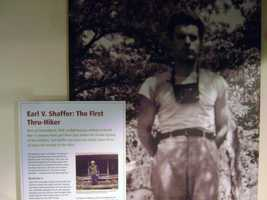 A display details Shaffer's journey on the trail.