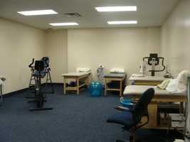 This is where players can find rehab and warm-up equipment, like heating pads and a back stretch inversion table.
