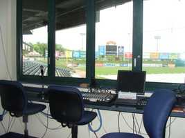 The music room is where the PA announcer sits, and is where music heard in the ballpark originates.