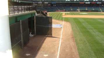This is where the bullpen pitchers warm up before heading onto the field during a game.