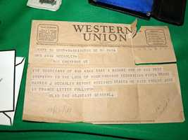 A telegram from 1944 telling a woman her husband was killed in the war .