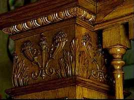 The intricate woodwork is original.