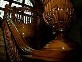The wood on the main staircase is regarded as one of the most beautiful parts of the home.