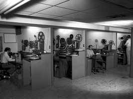 Film edit bays -- 1960s.
