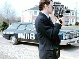 Before live trucks, News 8 got around in news station wagons... and news cameras used film.