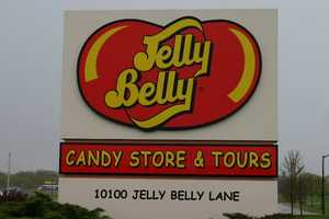 "A huge ""bean"" sculpture is on display at the Jelly Belly Visitor Center in Pleasant Prairie, WI."