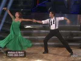 "Melissa Gilbert and Maksim Chmerkovskiy danced a Viennese Waltz to Smokey Robinson's ""Baby Baby."""