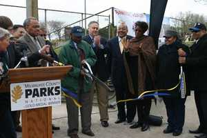 Ribbon cutting to commemorate the ball field renovations