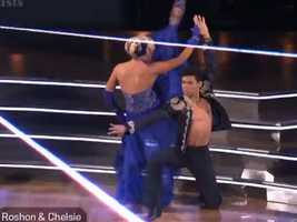Roshon Fegan danced his Paso Doble trio with Chelsie Hightower and Sasha Farber.