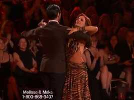 Melissa Gilbert and partner Maksym Chmerkovskiy danced a Foxtrot in the first round.