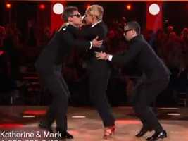 Katherine Jenkins danced her trio with Derek Hough and Tristan MacManus.
