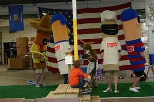 The Milwaukee Bucks mascot, Bango, and the Klement's Racing Sausages were there to cheer on the contestants.