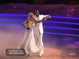 Donald Driver and Peta Murgatroyd danced a Waltz as their first dance of the night. The crowd was on their feet and the dance was very graceful.