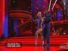 Carrie Ann Inaba mentored Donald Driver and partner Peta Murgatroyd on their Argentine Tango.