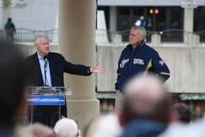 Former President Bill Clinton visited Milwaukee Friday morning to campaign on behalf of Milwaukee Mayor Tom Barrett in his run for the governor's seat in the June 5 recall election.
