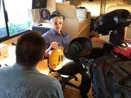 WISN 12 News reporter Terry Sater interviews Steve Miller.