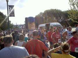 Hotdog crossing the finish line